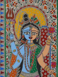 Shiva Ardhanarishwar Madhubani Artwork on Handmade Paper Madhubani Art, Madhubani Painting, Abstract Painters, Abstract Art, Kerala Mural Painting, Indian Folk Art, Art Corner, Buy Art Online, Art Auction