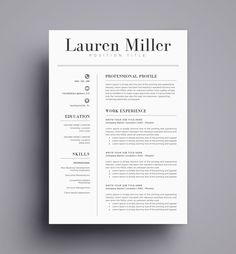 Resume Template / CV Template for Word, Cover Letter, Two Page Resume, Teacher Resume, professional Resume, INSTANT DOWNLOAD by TemplateCraft on Etsy https://www.etsy.com/listing/449837902/resume-template-cv-template-for-word
