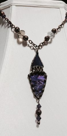 My necklace with Van Gogh glass and iridescent purple.