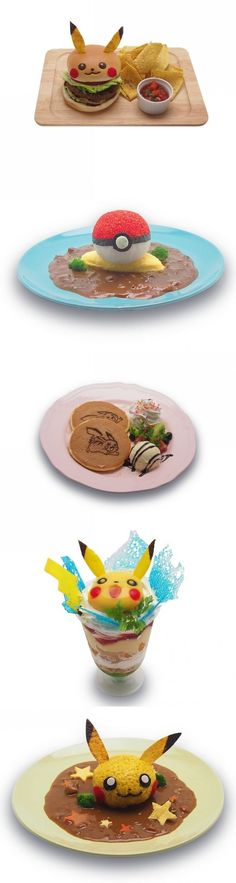 Pokemon Dishes from the Pokemon Shop/Cafe in Japan. Looks so kawaii and oishii.