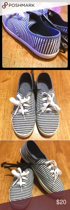 BRAND NEW Blue & White Striped Canvas Sneakers 🆕 Blue & White Canvas Sneakers 👟 Adjustable Fit Lace • Flexible Injected Outsole • Slightly Padded on the inside 🆕 BRAND NEW 🆕 Shoes Sneakers