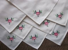 Set of 8 Vintage Table Linens~Ivory Cotton Fabric~Cross-Stitch Floral Embroidered Napkins~Embroidery~NOS~Unused New/Old Stock~Matching Set