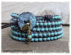 Seed Bead Leather Wrap Bracelet/ Seed Bead Bracelet/ Blue