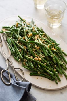 Lightly Roasted Green Beans with a parmesan-almond crumble
