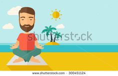 A hipster man doing yoga in the beach with his yoga pad under the sun. Contemporary style with pastel palette, soft blue tinted background with desaturated cloud. Vector flat design illustrations - stock vector