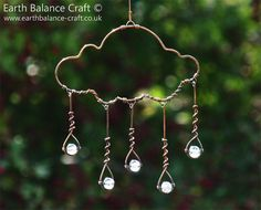 Hanging Ornament - Rain Cloud Decoration, Water Droplets, Blue Sun Catcher, Copper Wire Wrapped, Blue Glass