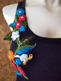 ZARA Black Ribbed Cotton Floral Embellished Embroidered Tank Top Shirt M 8 10