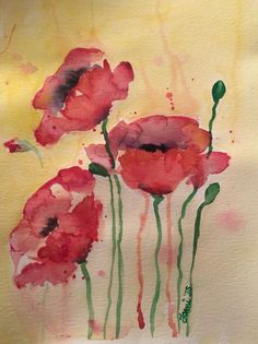 ARTFINDER: Red Poppies by Tami le Roux - Loose red Poppies on a bright happy yellow background.