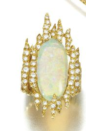 Opal and diamond ring by Grima,