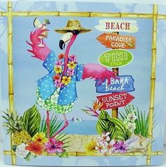This pink flamingo greeting card features a pink flamingo with a tropical drink. He is leaning on a stack of beach direction signs. Flamingo Beach, Flamingo Art, Pink Flamingos, Flamingo Outfit, Birthday Greeting Cards, Birthday Greetings, Card Birthday, Beach Signs Wooden, Congratulations Greetings