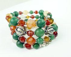 Jade Carnelian Orange Green #Gemstone Sterling Beaded Coil #Bracelet @dianesdangles