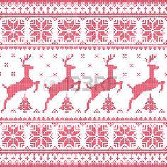 Winter, Weihnachten rot nahtlose Muster mit verpixelten Hirsch mit B�umen photo