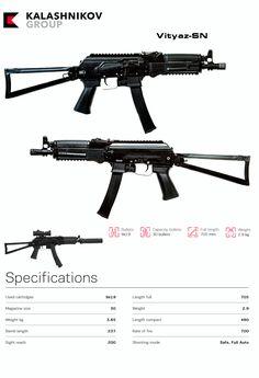 kalashnikov - Vityaz-SN Military Weapons, Weapons Guns, Guns And Ammo, Assault Weapon, Assault Rifle, Kalashnikov Rifle, Battle Rifle, Submachine Gun, Tactical Gear