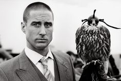 Luke Wilson with Mordecai the falcon, on set of The Royal Tenenbaums, 2000