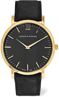 Larsson & Jennings - Lugano Suede And Gold-plated Watch
