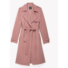 Double-Face Wool-Cashmere Trench Coat ($114) ❤ liked on Polyvore featuring outerwear, coats, woolen coat, wool cashmere coat, cashmere coat, reversible wool coat and red coat