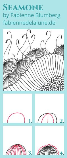 Tangle Pattern Seamone by Fabienne Blumberg - Step by Step Tangle Pattern Instructions #Zentangle #ZentanglePattern #Doodle #DoodlePattern