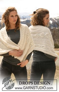 """DROPS shawl in """"Vivaldi"""" and """"Alpaca"""" with different patterns. ~ DROPS Design - free"""