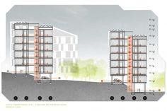 Corte.Concurso Habitação para Todos. CDHU. Edifícios de 6/7 pavimentos - 1º Lugar.Autores do projeto  [equipe vencedora]