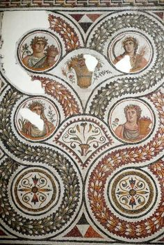 Roman mosaic depicting the Four Seasons, 2nd3rd cent. AD. Bardo Museum, Tunis