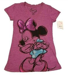 788f988b23d9 New Disney Minnie Mouse XS (1) Womens Knit Pajamas Shirt Pink Sleepwear top  Tag