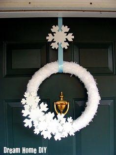 DIY Snowflake Wreath.