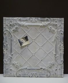 Antique tin ceiling tile Magnet message board Large chippy white decorative panel Re-purposed salvage Tin Tiles, Tin Ceiling Tiles, Ceiling Panels, Tile Crafts, Shabby Chic Farmhouse, Architectural Antiques, Decorative Panels, Message Board, Tile Design