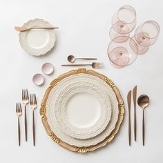 Light Pink & Gold Florentine Charger + White Lace Dinnerware + Moon Flatware in Rose Gold + Pink Enamel on Copper Salt Cellars + Chloe Gold Rimmed Stemware in Blush | Casa de Perrin Design Presentation