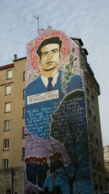 En février et mars 2012, l'artiste Popof a réalisé une grande fresque en hommage au groupe Manouchian du côté du passage du Surmelin