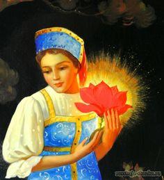 """Сказка """"Аленький цветочек"""" http://russkaja-skazka.ru/alenkiy-cvetochek/ «Не плачь, не тоскуй, государь мой батюшка родимый; житье мое будет богатое, привольное: зверя лесного, чуда морского, я не испугаюся, буду служить ему верою и правдою, исполнять его волю господскую, а может, он надо мной и сжалится. Не оплакивай ты меня живую, словно мертвую: может, бог даст, я и вернусь к тебе». #сказки #картинки #art #аленький_цветочек"""