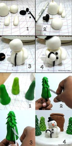 39 New Ideas For Cupcakes Decoration Diy Tutorials Decorating Ideas Christmas Cake Designs, Christmas Cake Decorations, Christmas Cupcakes, Holiday Cakes, Christmas Cake Topper, Fondant Christmas Cake, Christmas Desserts, Christmas Goodies, Christmas Baking
