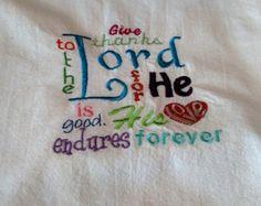 Scripture embroidered dish towel tea towel flour sack towel