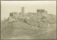 Eugene PIOT, General view of the Acropolis - Athens, taken f Ancient Greece, Roman Empire, Print Pictures, Athens, Monument Valley, Art Photography, Castle, The Originals, History