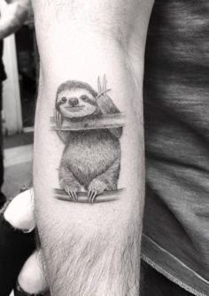 Peaceful sloth tattoo by Doctor Woo