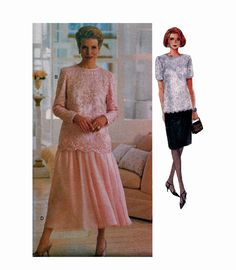1990s VOGUE COCKTAIL DRESS Pattern Evening Gown 2-Piece Lace Tunic Top Skirt Vogue 8635 Bust 36 38 40 UNCuT Plus Size Womens Sewing Patterns by DesignRewindFashions on Etsy