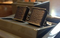 Denison Boston navy leather cufflinks $45 from Gotstyle Menswear.