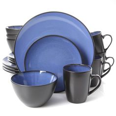 Gibson Home Soho Lounge Square 16 Pc. Dinnerware Set, Matte Blue
