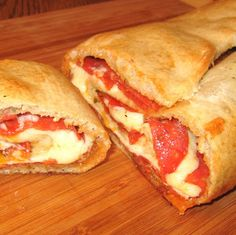 Pepperoni Stromboli * oh, my goodness!  Quick, easy, yummy!  Love just using the canned pizza dough.  Get some marinara/pizza sauce to dip it in & it is incredible.  My husband likes mushrooms & spinach on his pizzas, so we put some on his pizza roll & he says it was very, very good.  Can whole-heartedly recommend this recipe!!