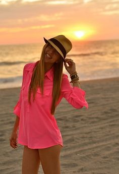 Neon pink for the beach <3
