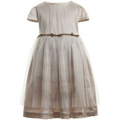 Beautiful beige girls dress by Trussardi. It is fully lined and made from a stretchy soft material with a satin sheen to it. The dress has a tulle overlay with a faint print on the front. It closes with a zip in the back and a narrow brown sewn on belt with little bows accentuates the waistline.<br /> <ul> <li>48% acetate, 45% polyamide, 7% elastane</li> <li>Tulle: 100% polyamide</li> <li>Lining: 62% acetate, 38% cupro</li> <li>Dry Clean</li> <li>Made in Italy</li> </ul> <br />