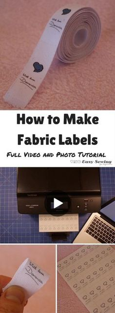 How to make fabric labels video tutorial step by step Sewing Hacks, Sewing Tutorials, Sewing Crafts, Sewing Tips, Sewing Basics, Sewing Ideas, Video Tutorials, Learn Sewing, Basic Sewing