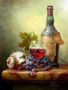 Artist: Toth Gabor ~ still life oil ~ grapes, wine glass & bottle on marble