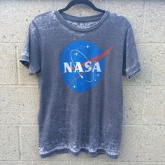 NASA Distressed T-Shirt Gray color. Faded mineral wash finish. Short sleeve. Great condition. Unisex size. Tops Tees - Short Sleeve