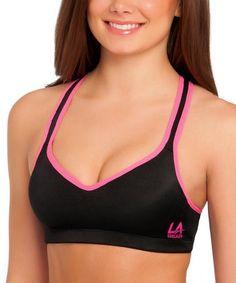 bddda2b2af LA Gear Black   Pink Microfiber Wireless Sports Bra