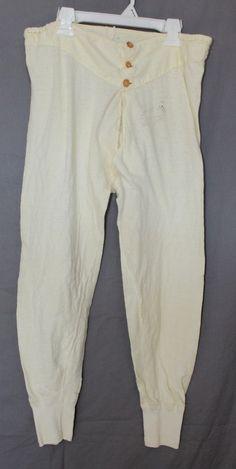Vintage Long Underwear Bottom, Drawstring Waist, 1930's to 1940's Era by ilovevintagestuff on Etsy