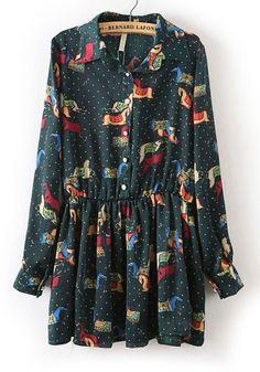 Ponies! Dark Green Floral V-neck Short Cotton Blend Dress