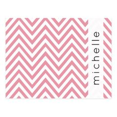 Your Name - Zigzag Pattern Chevron - Pink White Postcard - postcard post card postcards unique diy cyo customize personalize