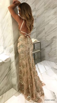 GOLD JADORE DRESS BY STUDIO MINC #BACKLESS #PROM #FORMAL #DRESS #SEQUIN