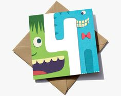 4th birthday card for a boy. The number 4 is in the negative space between a green character and blue elephant.  The cute characters have the appearance of sugar paper giving them a playful quality that children will love.