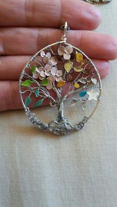 Tree of life 4 Seasons, wire tree of life with nail enamel flowers